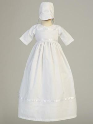 RILEY Cotton Unisex Christening Gown with two hats, for boy and girl 0-18m