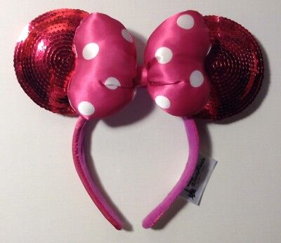 New! Disney Minnie Mouse Ear Headband - Hot Pink Sequin with Bow