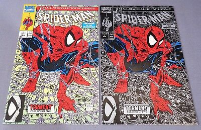 SPIDER-MAN #1 x2 (Green & Silver/Black Cover Variants) Todd McFarlane 1990
