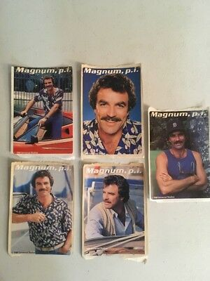Lot Of 5 Vintage 80s Tom Selleck Magnum P.I. Stickers