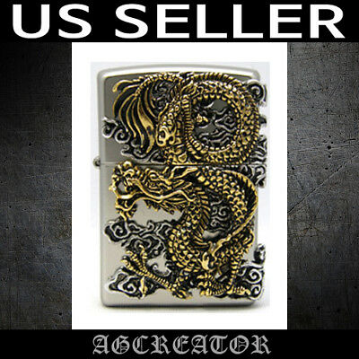 Japan Korea Zippo lighter Flying dragon NI nickel plated brass emblem US SELLER