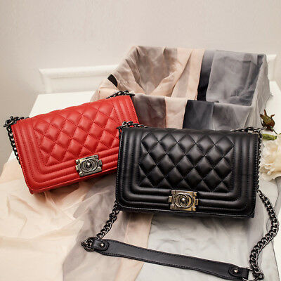 4693843b844a Women s Quilted Chain Black Bag Leather Shoulder Bag Crossbody Handbag  Ladies