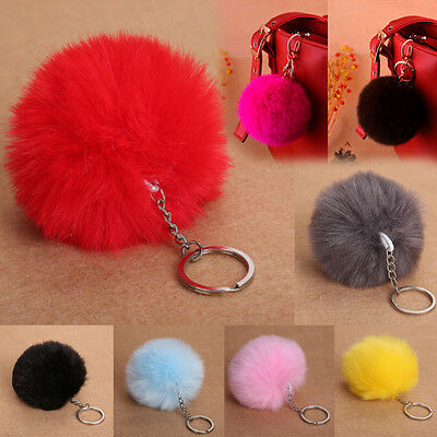 Rabbit Fur Fluffy Pompom Ball Handbag Car Pendant Charm Key Chain Keyrings JS