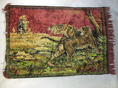 Tiger Tapestry Wall Hanging Rug Fringed Elephant Hunters Prey Vintage