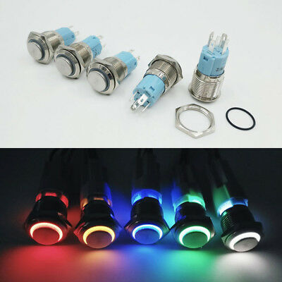 1PC 5V Self Reset Button Metal LED With Light Car Waterproof Auto Accessories