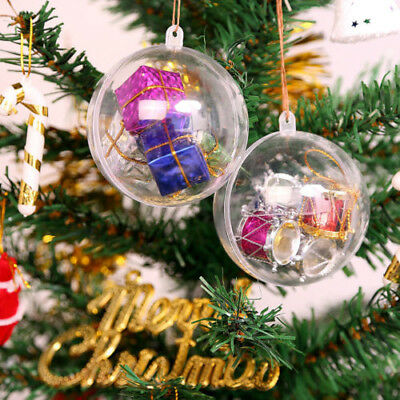 5/10/20X Clear Plastic Ball Baubles Sphere Fillable Christmas Ornament Craft Box