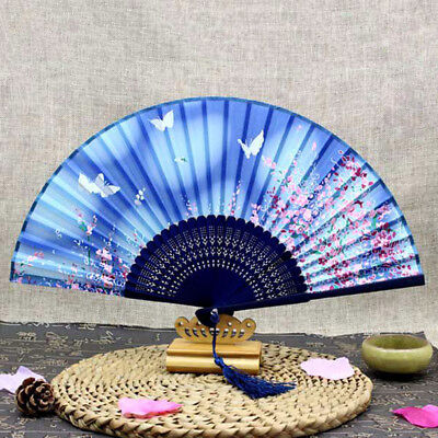 Exquisite Hand Carved Silk Hollow Bamboo Folding Fan Wooden Chinese Style