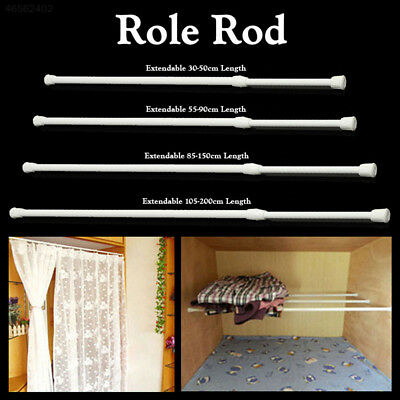 90EB Spring Telescopic Net Voile Tension Curtain Loaded Shower Pole Rod White