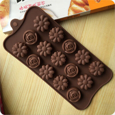 2711 15 Rose Flowers Silicone Cake Chocolate Pastry Tray DIY Mold Decoration