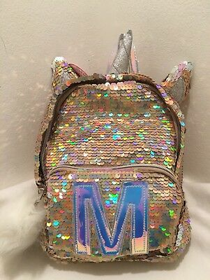 """Justice Girls Initial """"M""""Mini Backpack Unicorn Reversible Flip Sequins Gold NWT"""