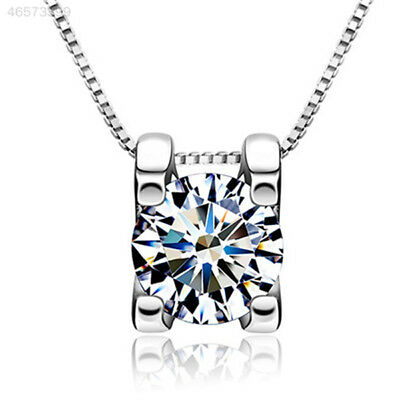 D4FF EC1B 925 Sterling Silver Squre Shiny Crystal Necklace Pendant Jewelry Gift*