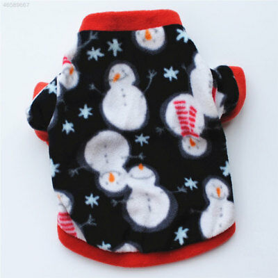 14F5 Christmas Pet Puppy Dog Clothes Warm Vest Jacket Snowman Pattern Apparel