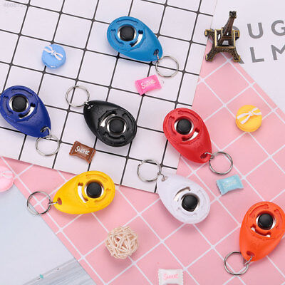 0C97 Pet Dog Training Clicker Trainer Teaching Tool Multi Color With Keychain