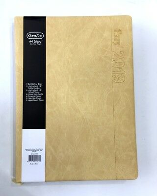 2019 Diary A4 Day To Page Bold Colour Business Diary A4 Day To An Opening-Khaki