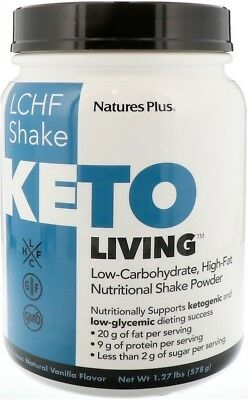 Keto Living LCHF Shake, Nature's Plus, 15 Servings Vanilla