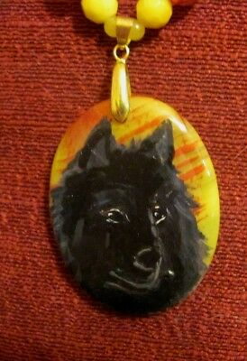 Belgian Sheepdog hand painted on oval Agate pendant/bead/necklace