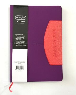 2019 Diary A5 Week To Page Vibrant Diary Two Tone A5 Week To An Opening-Purple