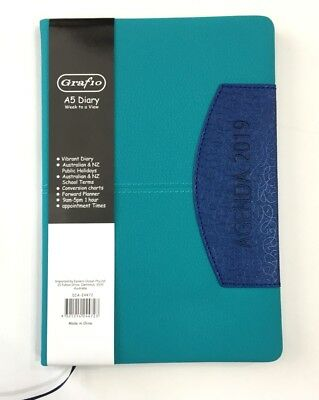 2019 Diary A5 Week To Page Vibrant Diary Two Tone A5 Week To An Opening-Blue