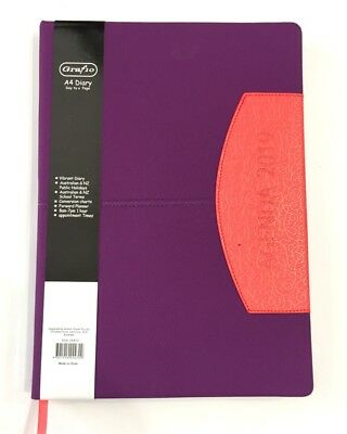 2019 Diary A4 Day To Page Vibrant Diary Two Tone A4 Day To An Opening-Purple