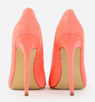 High Heel Pointed Toe 5.12 in Stiletto Neon Coral Shoes US 11