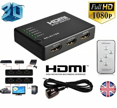 3 Or 5 PORT HDMI Splitter Switch Selector Switcher Hub+Remote 1080p For HDTV TOP