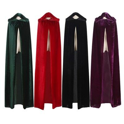 Adults Halloween New Hooded Cloak Cape Medieval Costume Cosplay Witch Vampire