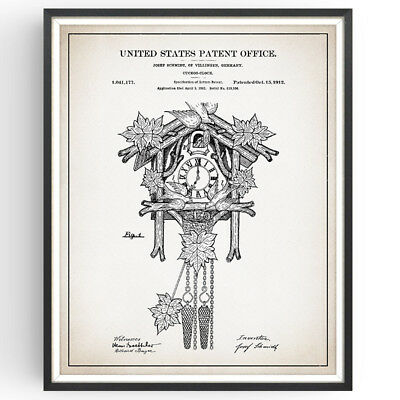 CUCKOO CLOCK | Patent Print | Black Forest Germany Vintage Gift Home Decor Art