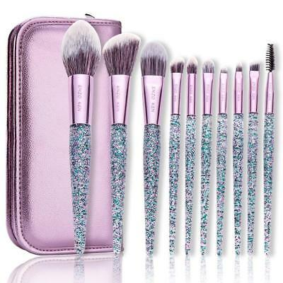 Makeup Brushes And Case Synthetic Foundation Blush Powder Blending Set 10Pcs/set