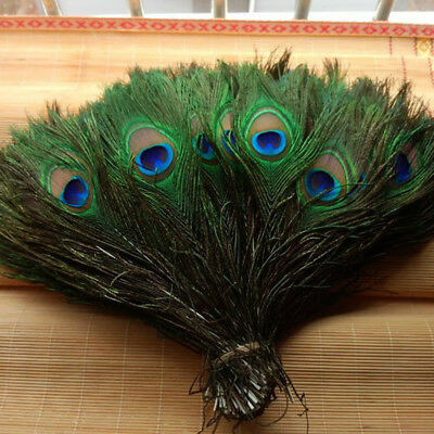 "10/30/100Pcs 100% Real Natural Peacock Feathers 10-12"" Stage Costume Makeup Tool"
