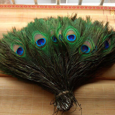 "10/30/100Pcs Artificially Peacock Feathers 10-12"" Stage Costume Makeup Tools"