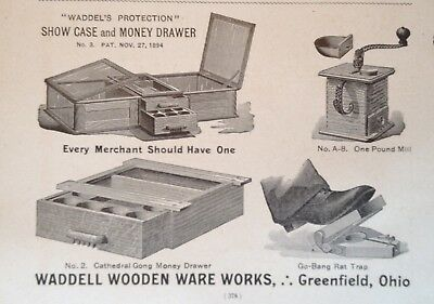1895 Ad(31)~Waddell Wooden Ware Works, Greenfield, Ohio. Shoe Case, Money Drawer