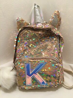 """Justice Girls Initial """"K""""""""Mini Backpack Unicorn Reversible Flip Sequins Gold NWT"""