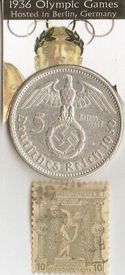 *1936- 5 m.(.900%)- *german *Olympic SILVER  EAGLE coin,1896-greek Olympic stamp