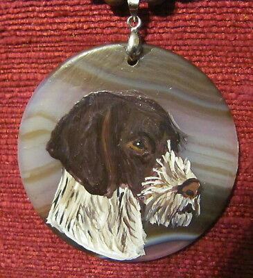 German Wirehaired Pointer hqandpainted on round gemstone pendant/bead/necklace