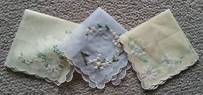 Vintage handkerchief x 3 nylon with felt or embroidered details