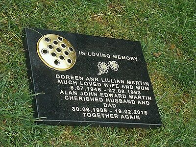 memorial plaque grave  black stone headstone grave personalised engraved.