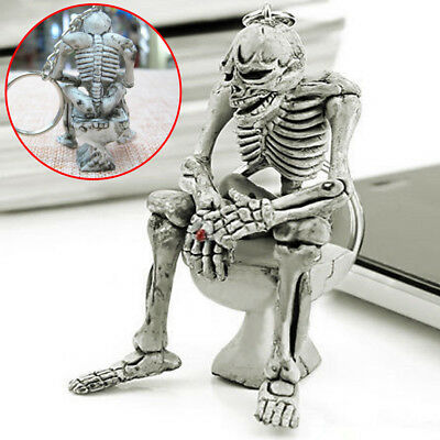 1x Men Creative Alloy Keyfob Car Keyring Keychain Key Chain Skull Toilet Gift