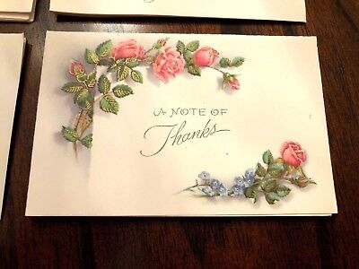 Lot of 12 Vintage 40s? UNUSED Thank You  floral Cards w/ Envelopes- Adorable!
