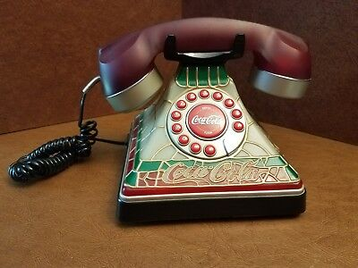 Coca Cola Stained Glass Look Light-Up Push Button Telephone