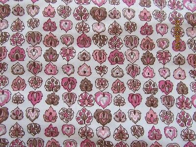 """Vintage Small TINY Leaf Print Cotton Fabric 36"""" Wide BTY PINK/BROWN By The Yard"""