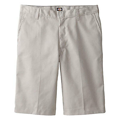 Dickies Boys Silver Shorts Flat Front School Uniform Sizes 4 to 10