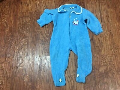 Vintage Little Weavers Terry Front Zip Newborn Baby Sleeper Pajamas Blue Train