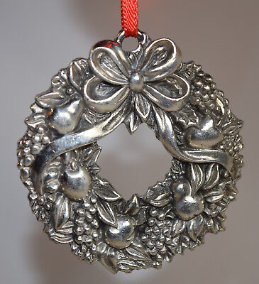 Reed & Barton Silver Plate Harvest Christmas Wreath Ornament (Ornament Only)