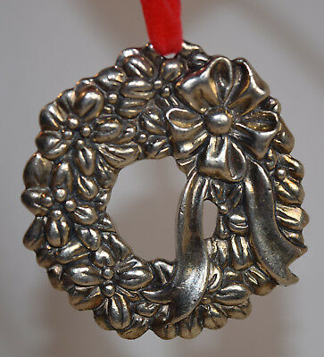 Reed & Barton Silver Plate Christmas Rose Wreath Ornament (Ornament Only)