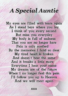 A Special Auntie Memorial Graveside Poem Card With Free Ground Stake F205