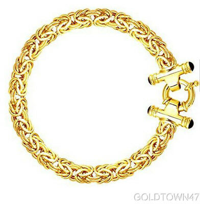 14kt Yellow Gold Solid Byzantine Necklace with Black Onyx Spring Ring Clasp