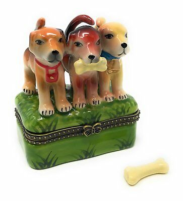 3 Hound Dog Puppies Porcelain Hinged Trinket Box with Tiny Trinket Inside,...