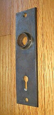 Door Plate Steel 5 5/16 by 1 ½ Inch with Skeleton Key Hole Antique