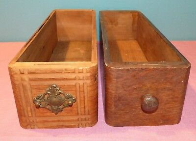 Lot of 2 Antique Oak Wooden Sewing Machine Treadle Cabinet Drawers