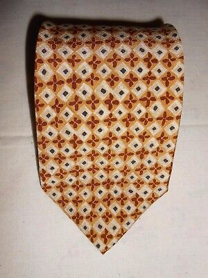 Hugo Boss Mens Neck Tie 100% Silk Yellow Geometric print Classic Made in Italy